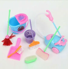9Pcs Home Furniture Cleaner Furnishing Kit For Barbie Doll House Cleaning Party