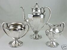 VINTAGE SILVER PLATE TEA/COFFEE/CHOCOLATE POT,SUGAR BOWL,CREAMER ART DECO