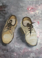 ORIGINAL VINTAGE GOUACHE PAINTING MODERNIST STILL LIFE WITH SHOES
