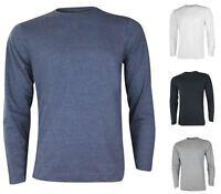 New Mens Gaffer Plain T-shirt Long Sleeve Crew Neck 100% Cotton S-2XL Casual Top