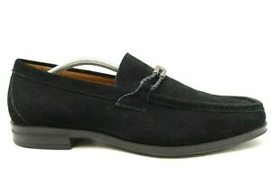 Stacy Adams Logo Plate Black Leather Dress Casual Loafers Shoes Men's 11 M
