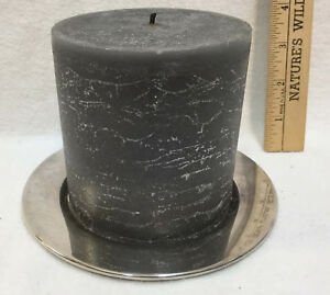 """Pillar Candle & Holder Stainless Steel Plate Smokey Gray 4""""  Fresh Linen Scent"""