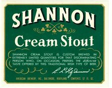 Shannon Cream Stout Beer Label