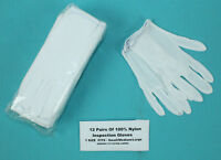 White Inspection Gloves 12 Pairs Coin Gold Handling Small/Medium/Large Silver