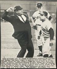 1964 NEW YORK YANKEES YOGI BERRA TOSSED BY UMP v. BALTIMORE ORIOLES WIRE PHOTO