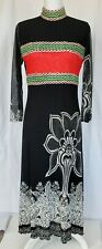 Vintage Indigo Collection Black Red Mesh Maxi Dress Large