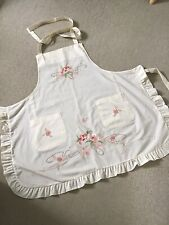 More details for vintage pale cream embroidered pinafore/apron in excellent condition
