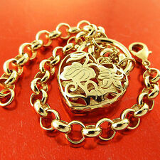 PADLOCK BRACELET BANGLE REAL 18K YELLOW G/F GOLD SOLID BELCHER LINK HEART DESIGN