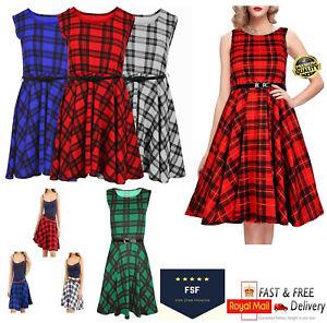 Women's Ladies Sleeveless Belted Dress Tartan Check Print Skater Skirt Size 8-26