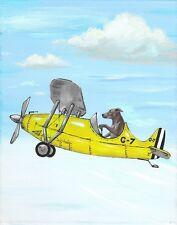 11x14 Print Of Painting Rhodesian Ridgeback Ryta Airplane Aviation Folk Art Pet