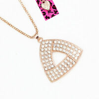 Betsey Johnson Crystal Rhinestone Triangle Pendant Sweater Chain Necklace Gift