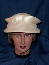 Vintage  Harry Pollack Glenover 100% Wool & Satin Ivory Hat for Maxine Hats 60's
