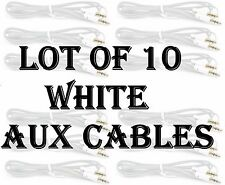 LOT X 10 pc WHITE AUX CABLES AUXILIARY CORD Male Stereo Audio Cable iPod MP3 CAR