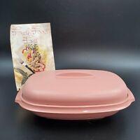 Vintage Tupperware Pink Mauve Steamer / Serving Bowl  1273-5 & 1274-6 3pc Oval