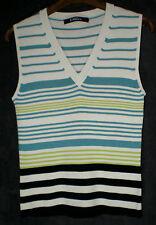 Joli pull sans manche blanc rayures bleu vert noir CAROLL T 40 TBE