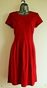 New Hobbs Sally Red Short Sleeve Pleated Knee Length Dress Size 6 -18