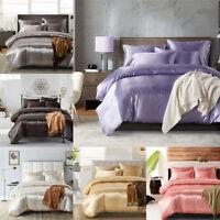 Satin Silk Bedding Set Duvet Quilt Cover Pillow Case Flat Sheet Twin/Queen/King