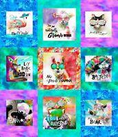 Sassier Animals 3 Wishes FABRIC DIGITAL PANEL~36 X 42 IN~multicolor square~15992