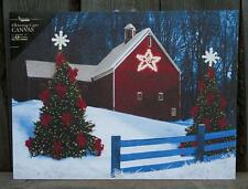 "16 x 12"" Lighted Led Barn Star & Christmas Tree Canvas Wall Art Picture-Battery"