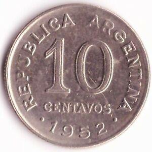 10 Centavos 1952 Argentina Coin KM#47 - Jose De San Martin