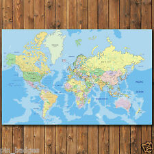 Large Political Atlas WORLD MAP POSTER Hi Quality d01674