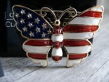 Butterfly Stars & Stripes Pin Joan Rivers Collection Brooch Pouch Romance Card