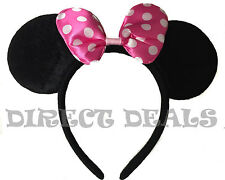 Minnie Mouse Ears Headband Black Pink Polka Dot Bow Party Favors Costume Mickey