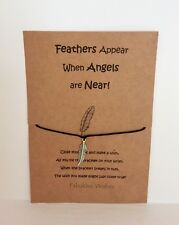 Wish String 'Feathers Appear when Angels are Near' Feather Tibetan Silver Charm