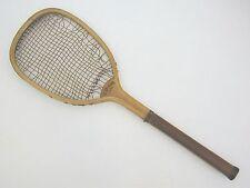 E. Hicks Transitional Flat Top Antique Tennis Racquet - 1890's - Rare Collar