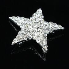 Alloy Rhinestone Crystal Star Brooch Wedding Bridal Bouquet Silver Brooch Pin
