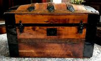 ANTIQUE REFINISHED DOME TOP TRUNK STORAGE CHEST STEAMER TRUNK