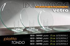 PIATTO TONDO IN VETRO DECOUPAGE 25CM SEO-305979