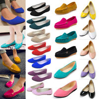 Womens Dolly Pumps Slip On Leather Flat Boat Loafers Shoes Espadrilles Casual