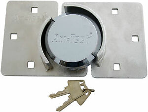 73MM HEAVY DUTY SHACKLESS PADLOCK AND HASP SET GATE SHED VAN SECURITY ROUND LOCK