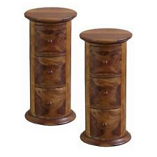 PAIR/JALI DRUM CHEST/BEDSIDE/SIDE/LAMP TABLES CD STORAGE H:60CM ACACIA/SHEESHAM