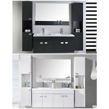 Mobile bagno arredo moderno bianco o nero sospeso doppi lavabo mobili colonne  1