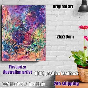 Abstract art original painting home decor texture colourful Contemporary Glowing