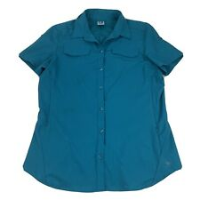 REI Button Front Shirt Women's Large Blue Vented Pockets Short Sleeve Camping