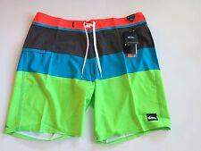 Quiksilver Men's 38 Board Shorts Everyday Blocked Stretch Orange Blue Green