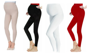 Womens Black Maternity Soft And Cosy Full Length Vicose Leggings Pregnancy 8-18