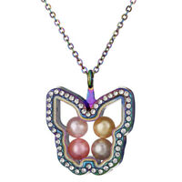 """C1397 With Rhinestone Rainbow Butterfly Glass Floating Locket Necklace 20"""""""
