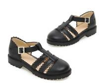Womens Brogue Lolita Baotou flat-heeled Low Heels T-strap Buckle Creeper Shoes