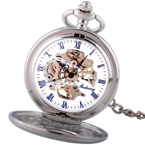 Gent Silver Vintage Mechanical Skeleton Pocket Watch Chain Fob Luxury Mens Gift