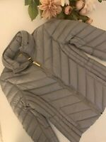 Michael Kors Women's DOWN Hooded Gold Zipper MK Logo Packable Large NWT
