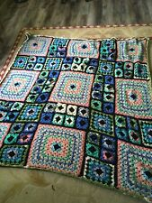 New ListingNew Crochet Afghan Multi Color specialty yarns Handmade 70x75 lg granny squares