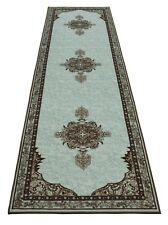Persian Medallion Spa Blue Runner Rug Slip Skid Resistant Rubber Back 3' x 10'