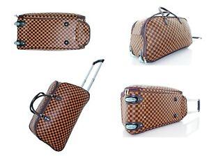 Designer Style Wheeled Holdall Handle Trolley Cabin Travel Luggage Weekend Bag