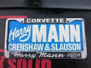 HARRY MANN CORVETTE License Plate Frame Chevrolet NEW