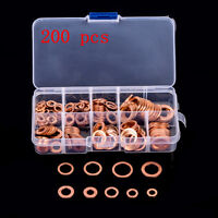 200X 9 Sizes Assorted Solid Copper Crush Washers Sump Plug Oil Seal Flat Rings