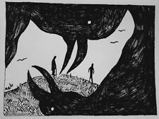 DAILY SKETCH Original Ink Drawing 'Crows' by Michelle Ranson